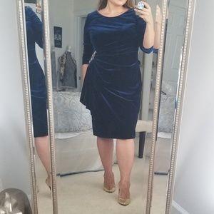 Dark Blue Alex Evenings Velvet Cocktail Dress